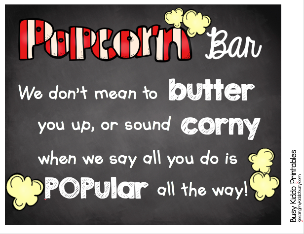picture relating to Popcorn Teacher Appreciation Printable titled Popcorn Bar Back again toward University Instructor Appreciation Maintaining